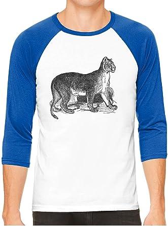 eab83c18 Unisex Mens Jungle Puma Cat Print 3/4 Sleeve White Baseball T-Shirt ...