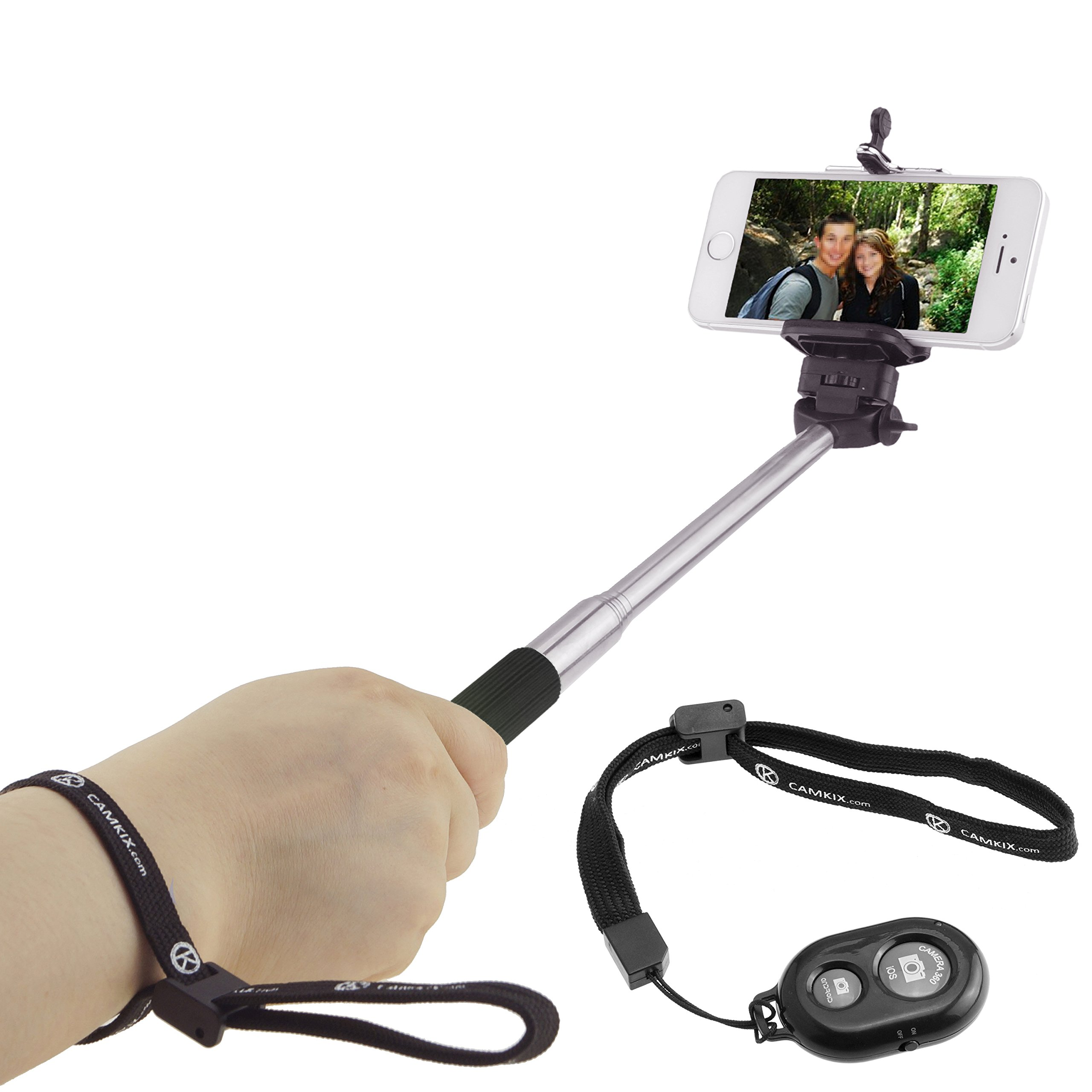 Selfie Stick with Bluetooth Remote for Smartphones - With Universal Phone Holder up to 3.25 Inch in Width - Adjustable Handheld Monopod 11'' - 40'' - Light, Compact, Easy to Carry