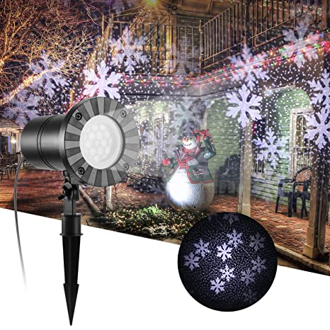 Proyector de luz navideña, Fornorm Snow Flurries Falling Light ...