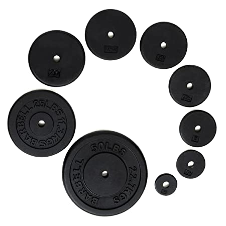 Ader Standard 1 Hole Cast Iron Weight Plate-Black