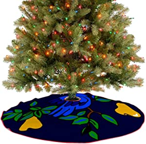 Amidaky Partridge in A Pear Tree Christmas Tree Skirt for Christmas Decorations Indoor Outdoor 36''×36''