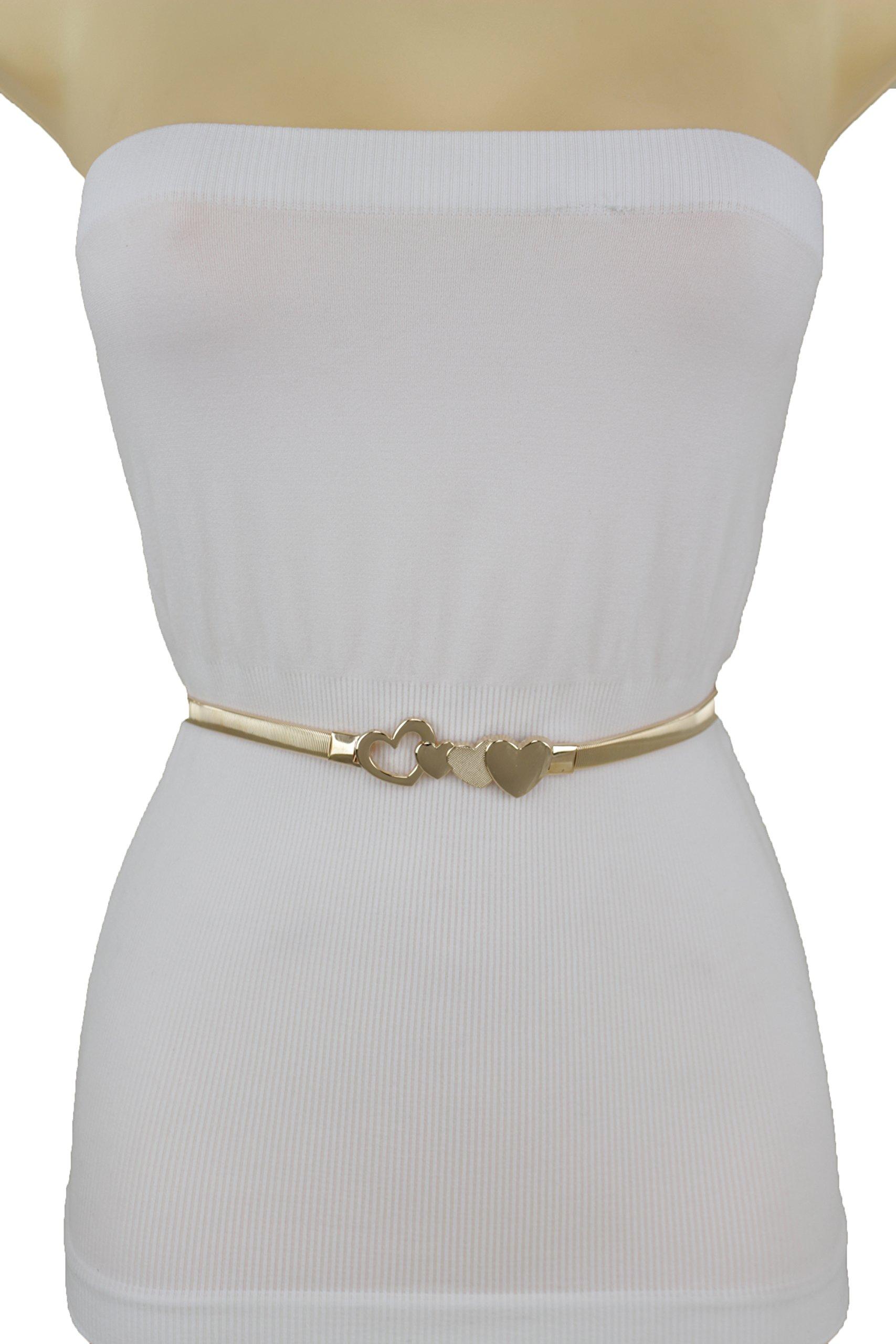 TFJ Women Skinny Gold Metal Stretch Belt Hip Waist Heart Buckle Size S M L