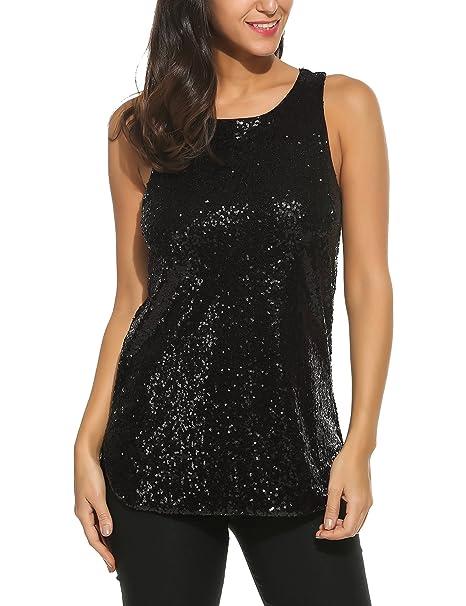 c7fc6ea875393a Zeagoo Women s Tank Tops Shimmer Sequined Glitter Double Side Slit Loose  Fit Sparkle Camisoles Vest Top