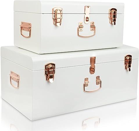 Wimports Set de 2 Grandes Blanco Vintage Acero Caja de Herramientas Cajas de Metal con Oro Rosa Accesorios: Amazon.es: Hogar