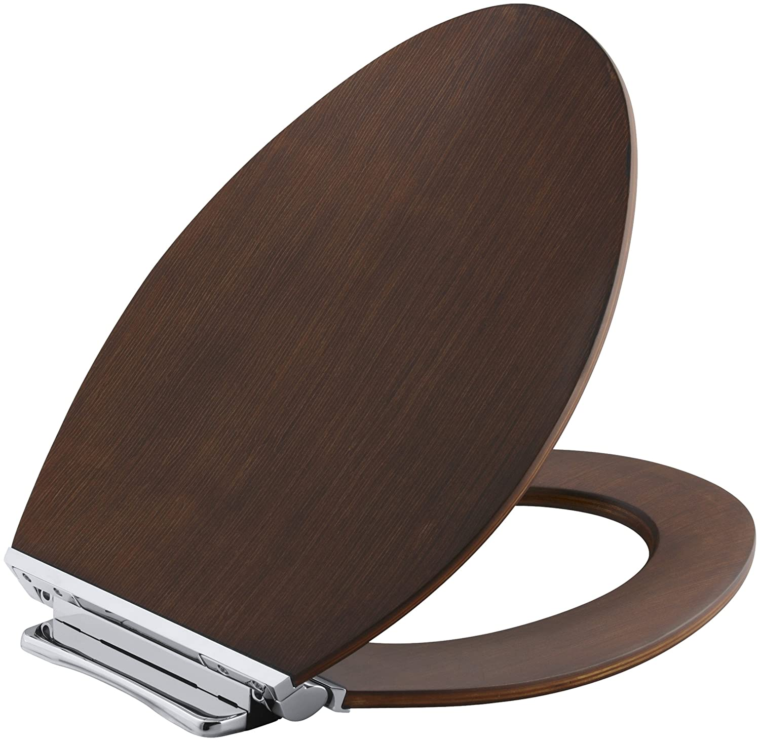 KOHLER K 4761 CP LAW Avantis Quiet Close Elongated Toilet Seat With  Quick Release Polished Chrome Metal Hinges, Light Antique Walnut      Amazon.com