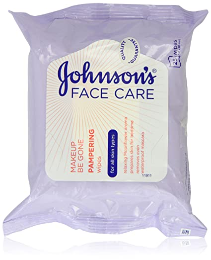 Johnson s cara cuidado maquillaje Be Gone mimos Wipes, 25 toallitas