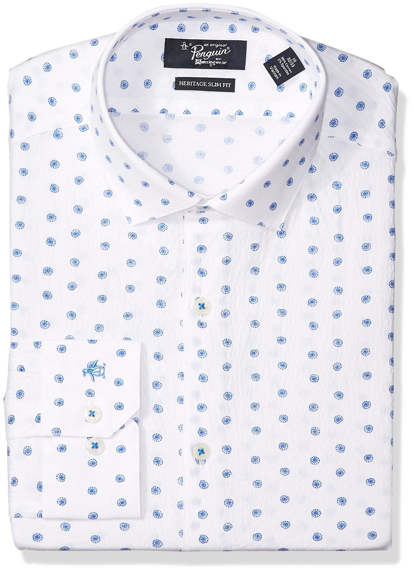 Original Penguin Men's Slim Fit Performance Spread Collar Printed Dress Shirt, Bright Blue, 16.5 32/33