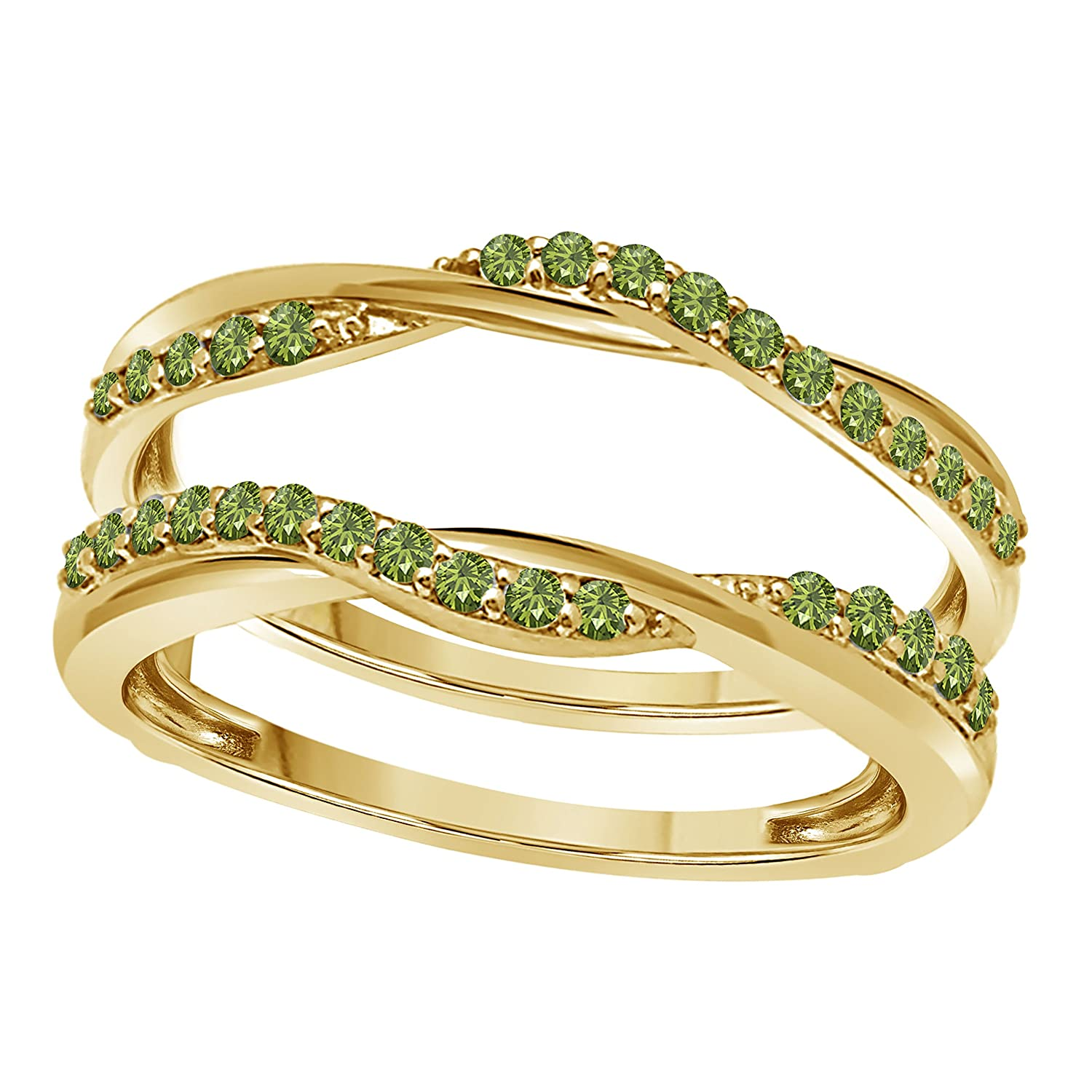 Silver Gems Factory 14k Yellow Gold Finish Delicate Bypass Infinity Style Vintage Wedding Ring Criss Cross Guard Enhancer With Cz Green: Delicate Vintage Wedding Rings At Websimilar.org