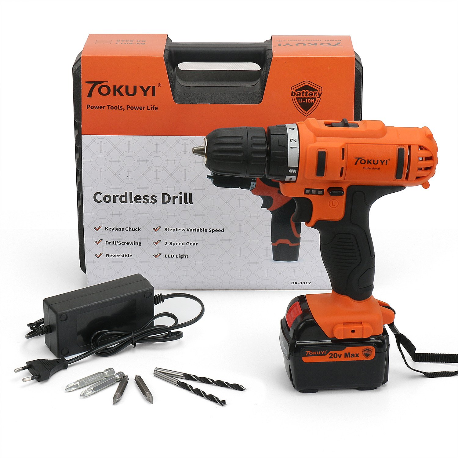 Tokuyi 20V MAX Lithium-Ion Cordless Drill Driver Kit, 3/8'' Keyless Chuck, 2-Speed with Bits, LED Light, Battery & Fast Charger