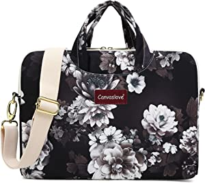 Canvaslove White Lotus Waterproof Laptop Shoulder Messenger Case Sleeve Bag for MacBook Retina 12 inch,MacBook Air Pro 13 inch,iPad Pro 12.9 inch and 11 inch 12.5 inch 13.3 inch Laptop