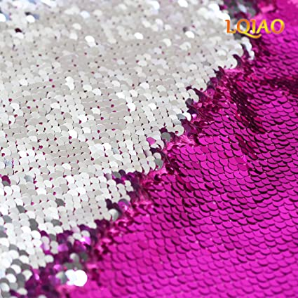 710c4c309d42ea Image Unavailable. Image not available for. Color  LQIAO Reversible Sequin  Fabric by The Yard Fuchsia Silver Flip Up Large Mermaid ...