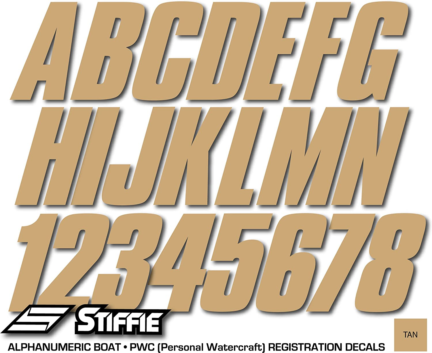 Stiffie Shift Tan 3 ID Kit Alpha-Numeric Registration Identification Numbers Stickers Decals for Boats /& Personal Watercraft