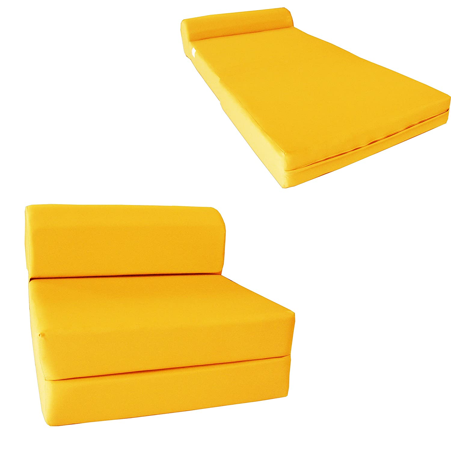 "Amazon Yellow Sleeper Chair Folding Foam Bed Sized 6"" Thick X"