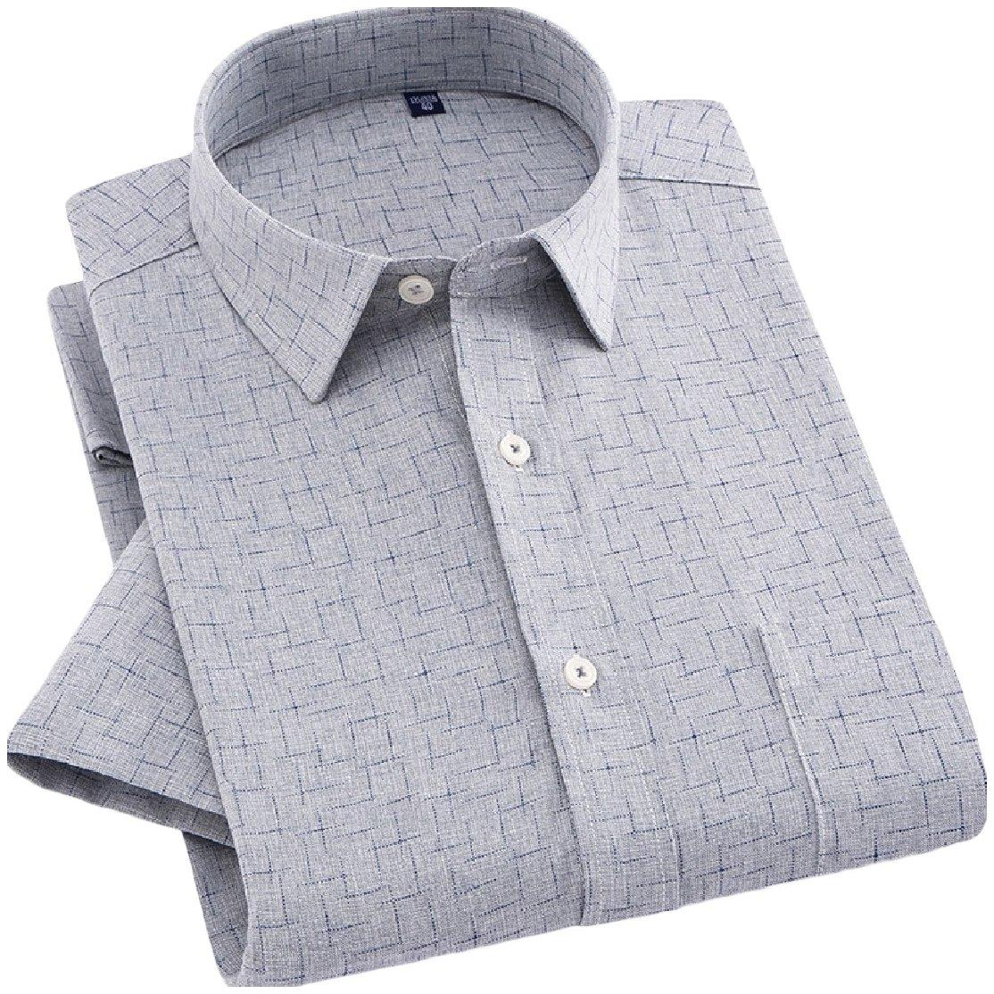 YUNY Mens Business Cardi Short Sleeve Linen Half Sleeve Square Collar Shirt AS18 2XL