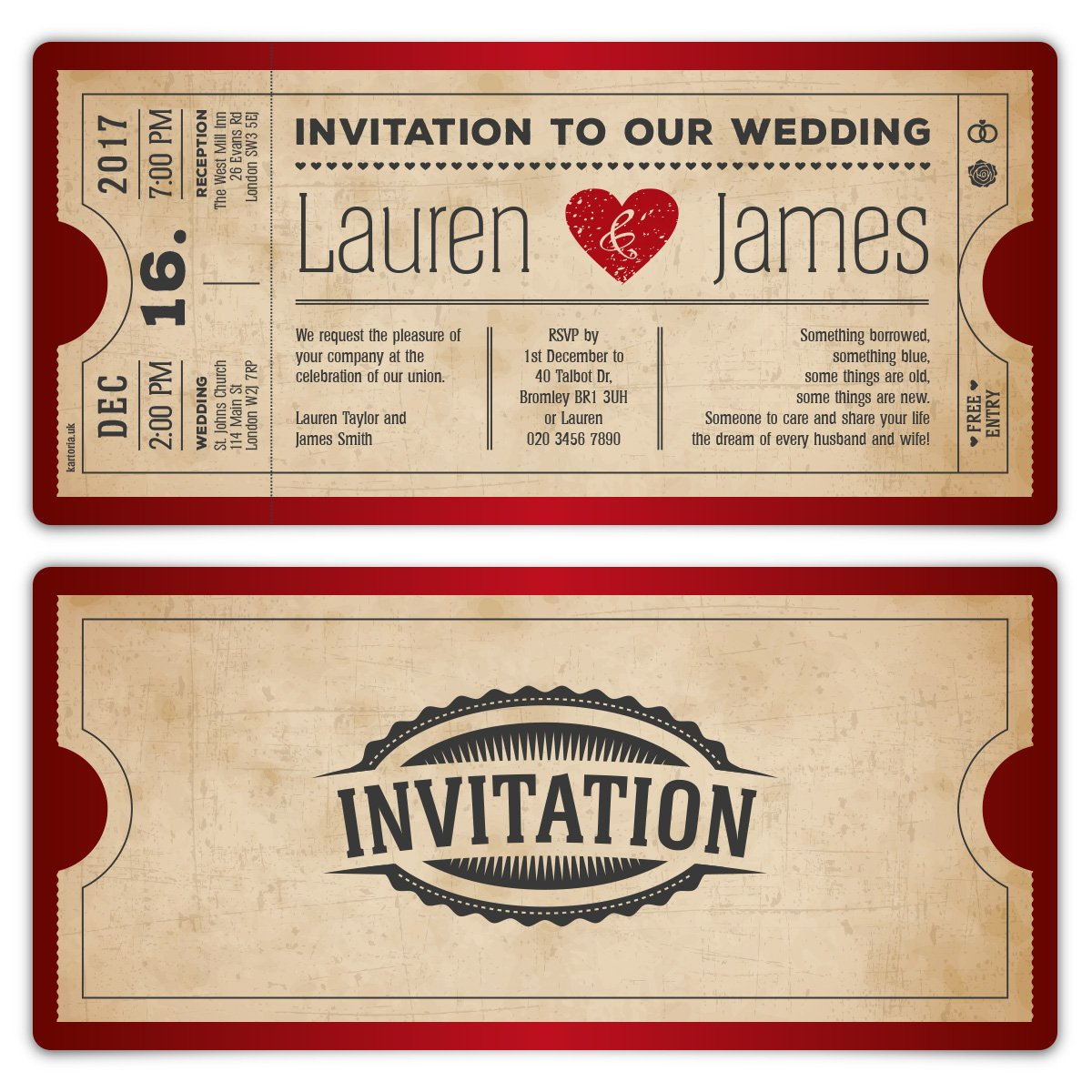 100 x Wedding Invitation Cards Invite - Red Vintage Heart Cinema ...