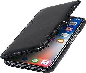 StilGut Custodia per Apple iPhone X/iPhone XS a Libro in Pelle, Nero Nappa con Clip