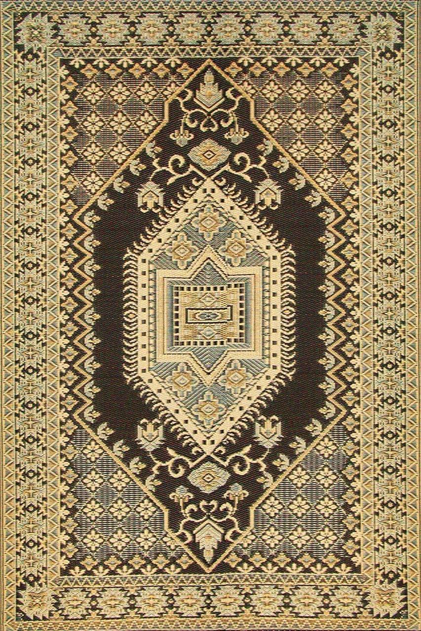 Mad Mats Oriental Turkish Indoor Outdoor Floor Mat, 6 by 9-Feet, Brown and Black