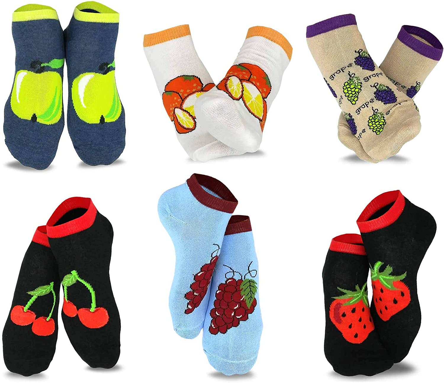 TeeHee Women's Casual and Novelty No Show Low Cut Socks 6-Pack
