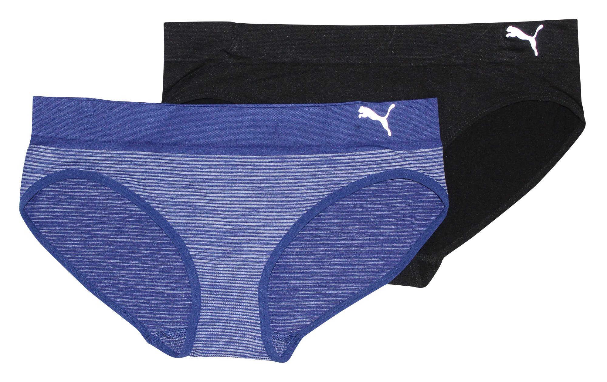 Puma Women's 2-Pack Seamless Super Soft Sport Stretch Bikini Panty, Navy, Large