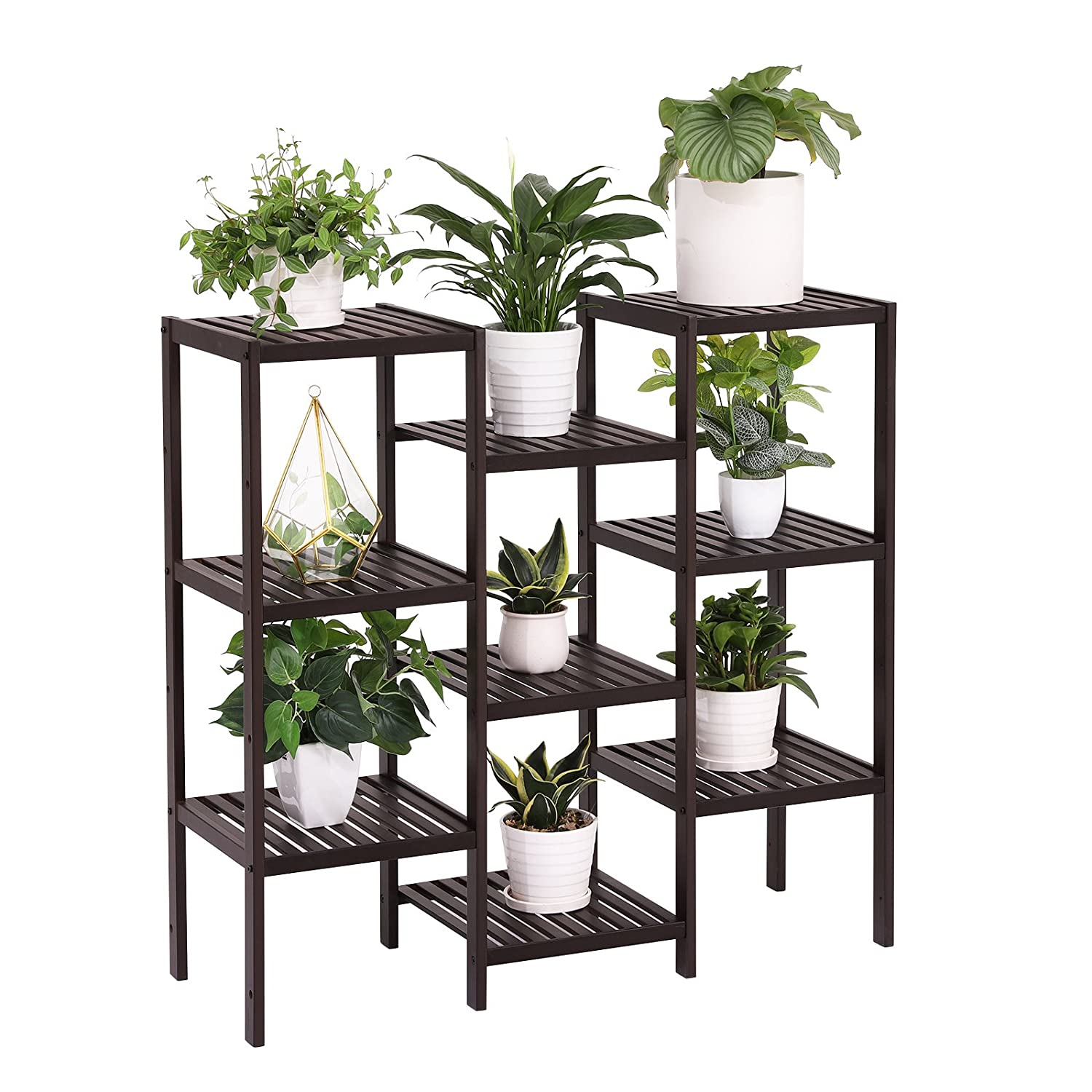 225 & SONGMICS Bamboo Customizable Plant Stand Flower Pots Holder Display Utility Shelf Bathroom Storage Rack Shelving Unit Brown UBCB93BR