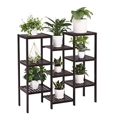 SONGMICS Bamboo Customizable Plant Stand Flower Pots Holder Display Utility Shelf Bathroom Storage Rack Shelving Unit Brown UBCB93BR