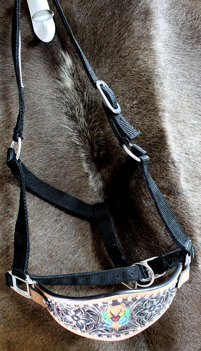 Horse Noseband Tack BroncレザーナイロンホルターTiedownリードロープ280217