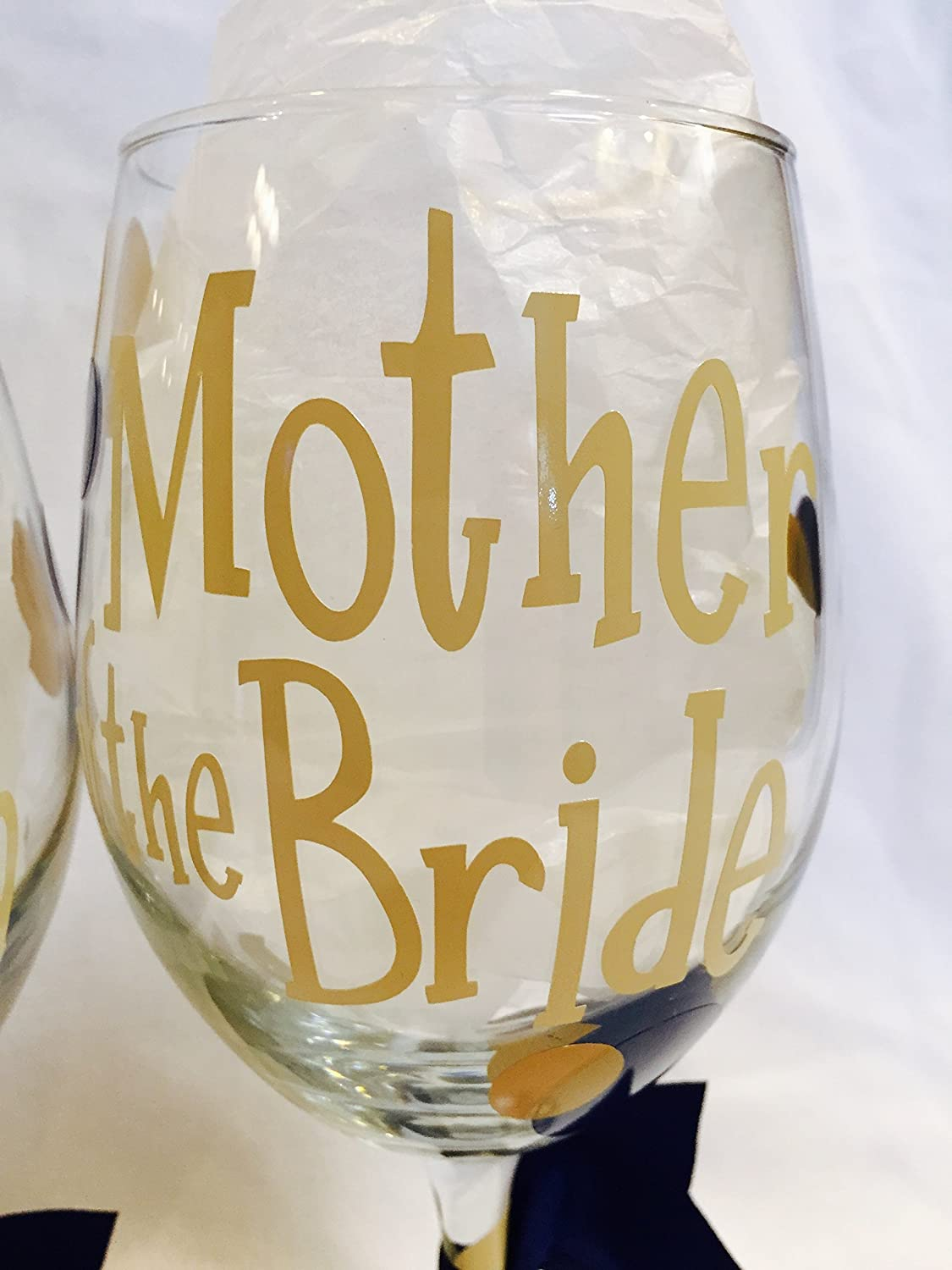 Mother of the Bride, Mother of the Groom Wine Glass 1 glass or Bridal Party gift