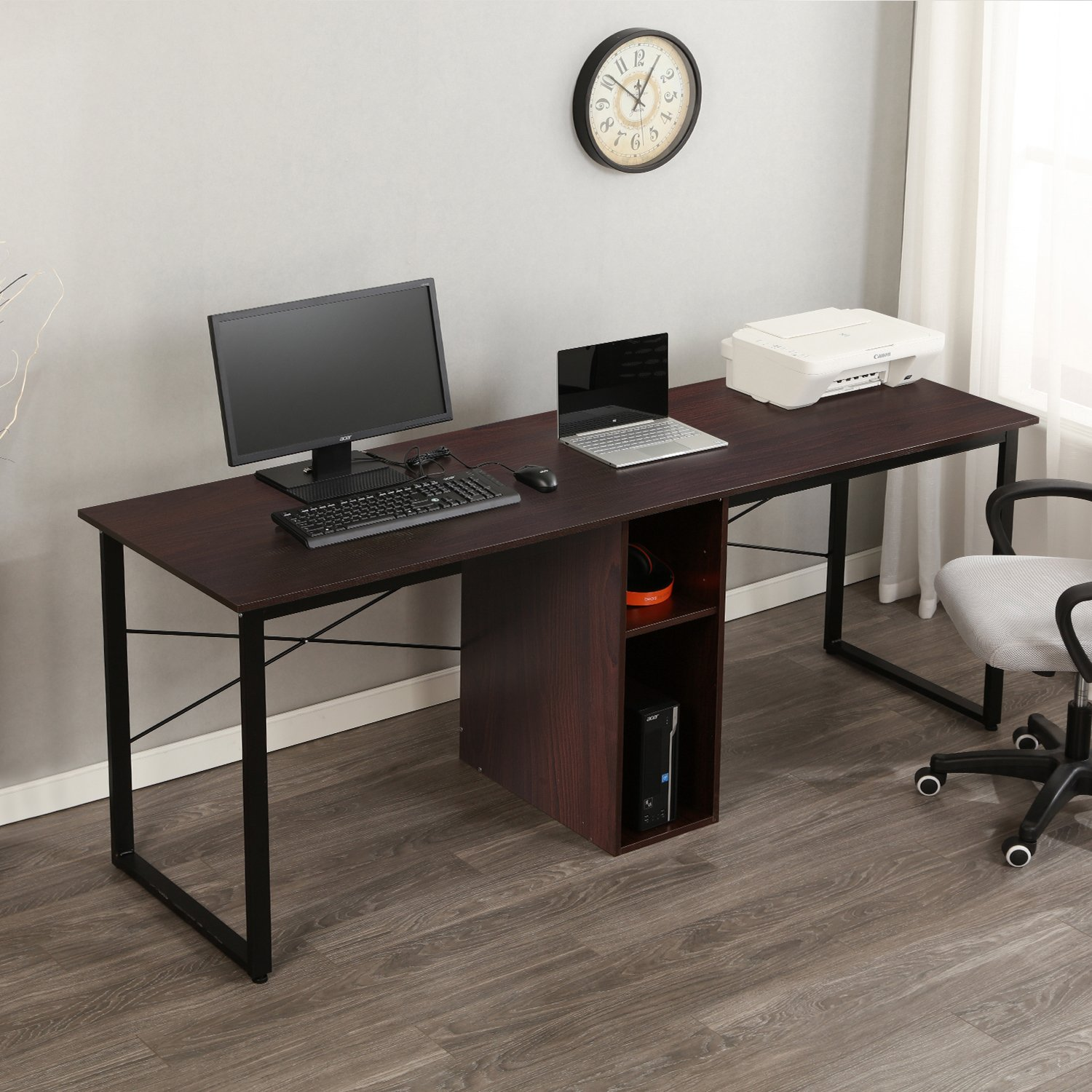 SogesPower 78 inches Double Office Desk Computer Desk with Storage for 2-Person, Large Desk Workstations for Home Office, Red Walnut by SogesPower
