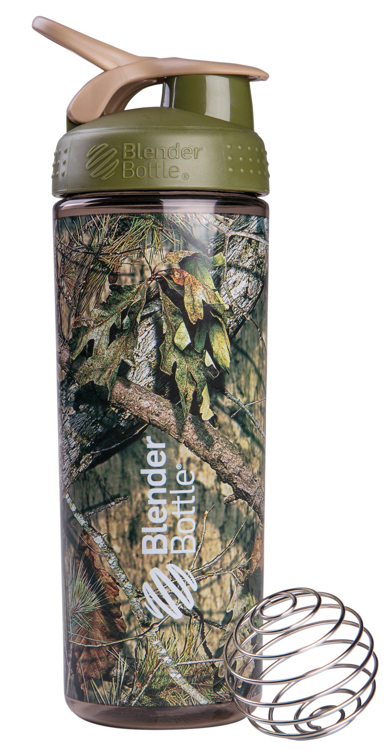 BlenderBottle SportMixer Sleek Shaker Bottle, Mossy Oak Camo, 28-Ounce