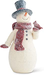 K&K Interiors 54085B 10.5 Inch Resin Glittered Vintage Snowman, White