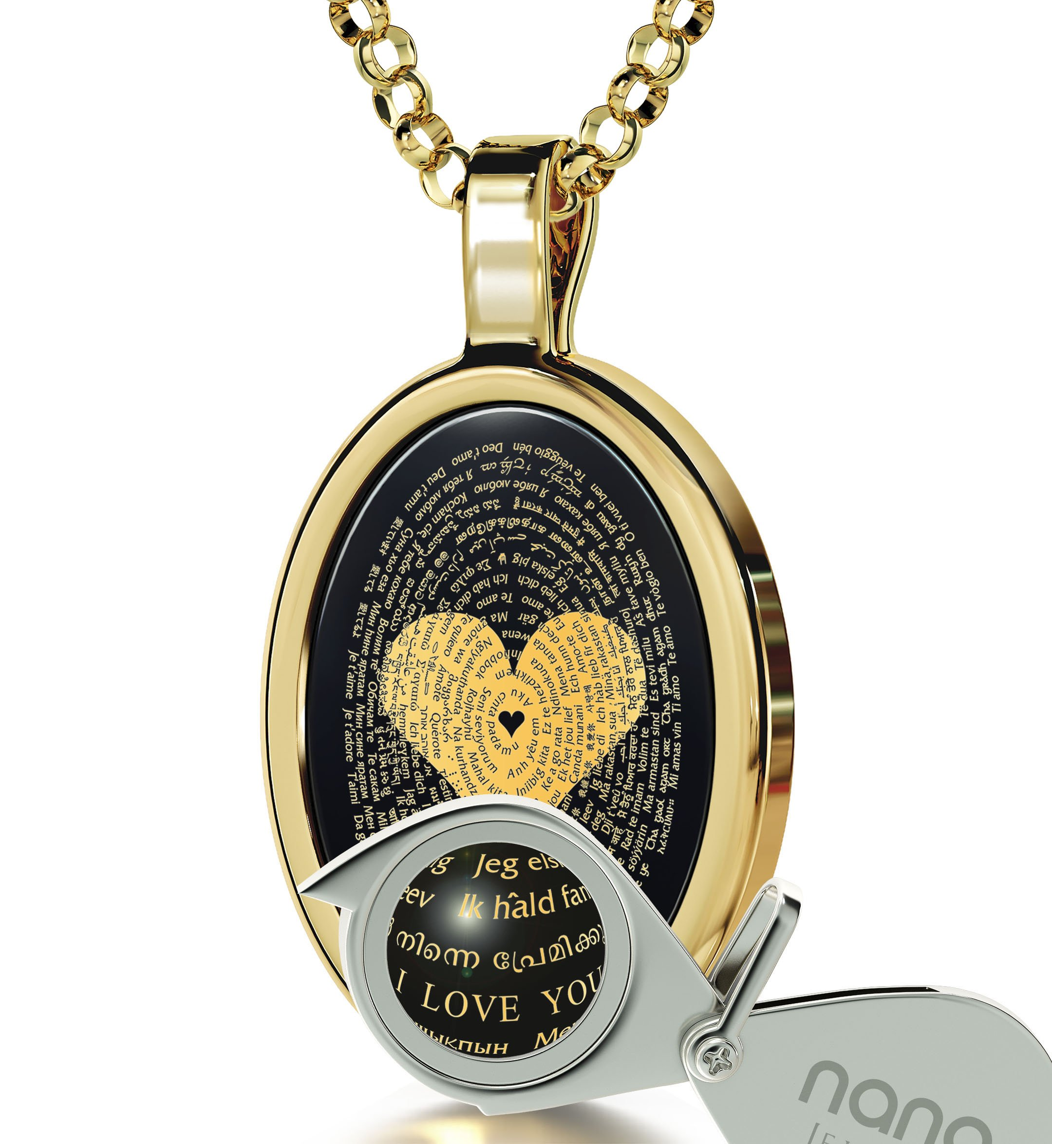 Gold Plated Love Necklace Pendant 24k Gold Inscribed I Love You in 120 Languages Onyx, 18'' Gold Filled by Nano Jewelry (Image #4)