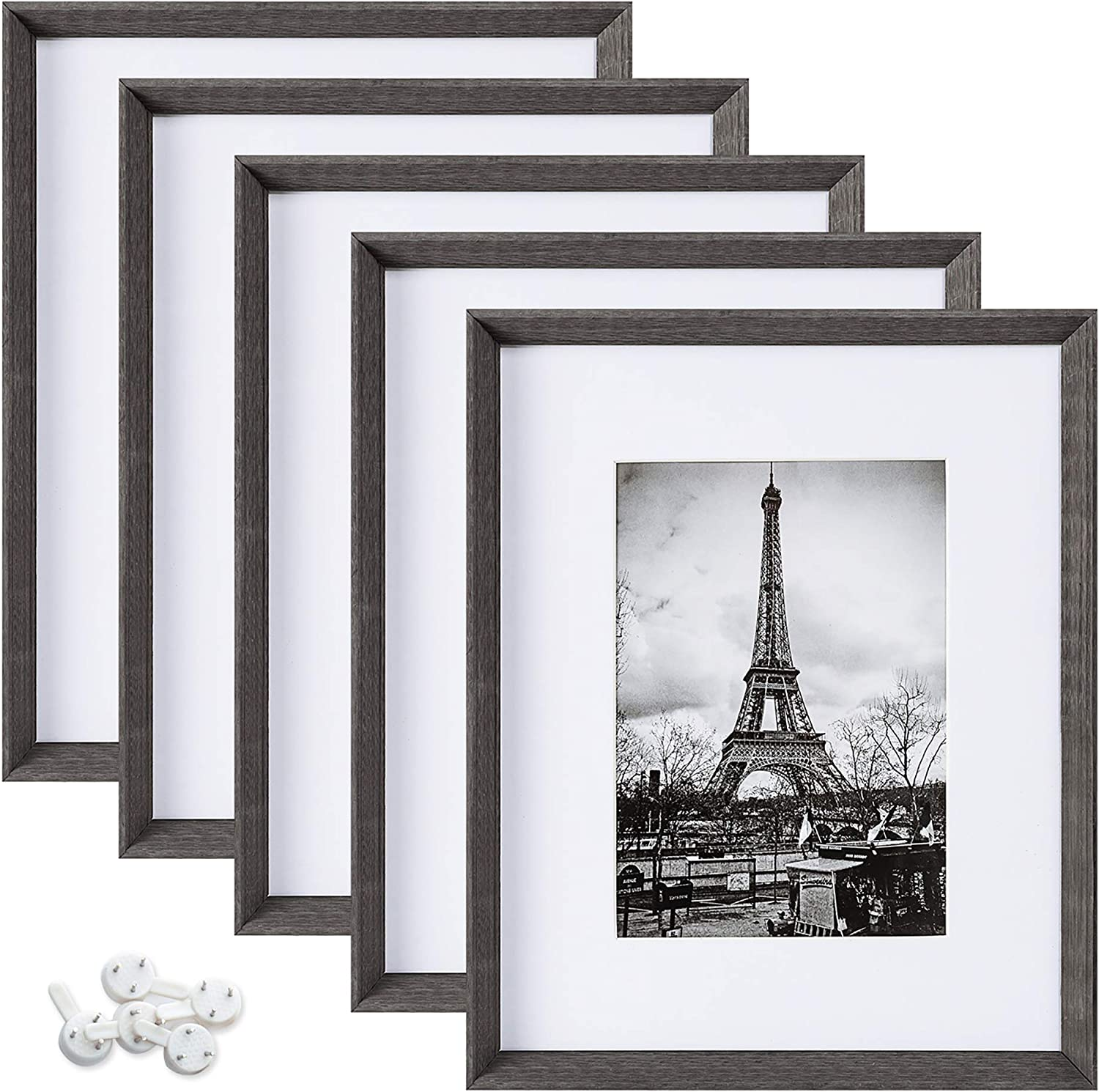 upsimples 8x10 Picture Frames with High Definition Glass, Display Pictures 5x7 with Mat or 8x10 Without Mat, Rustic Photo Frames for Wall or Tabletop Display, Set of 5, Dark Grey -