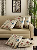 """Romee Multicolor Polyester Jute Fabric Butterfly Print Cushion Cover 16"""" x 16"""" (Set of 5)"""