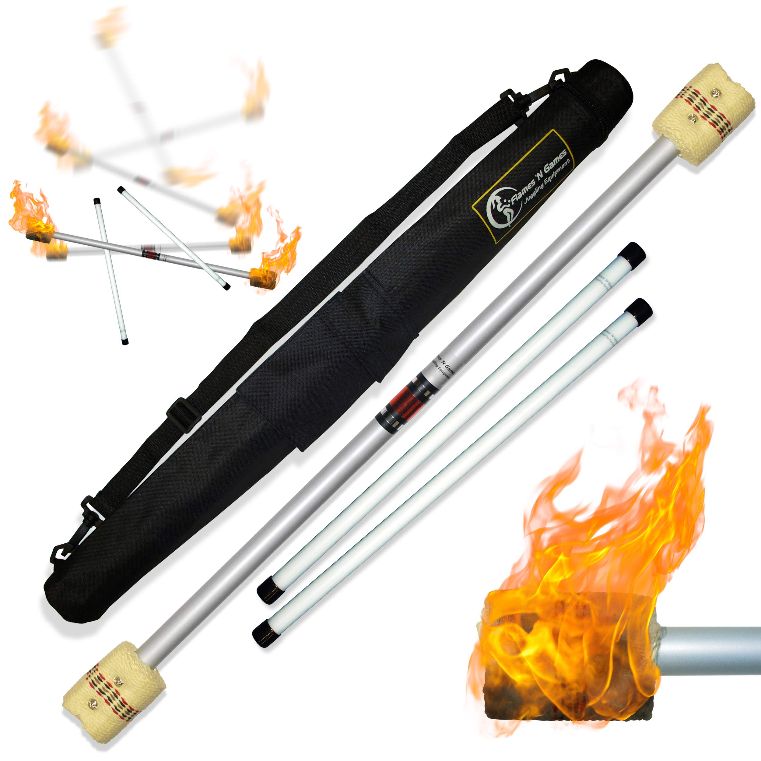 Flames N Games FIRE Devil Stick Set (65mm Wicks) Ultra-Strong FIBRE Sticks + Travel Bag! Juggling Devil sticks for Beginners & Pro's alike! by Flames N Games Fire Devil Sticks/Flower Sticks