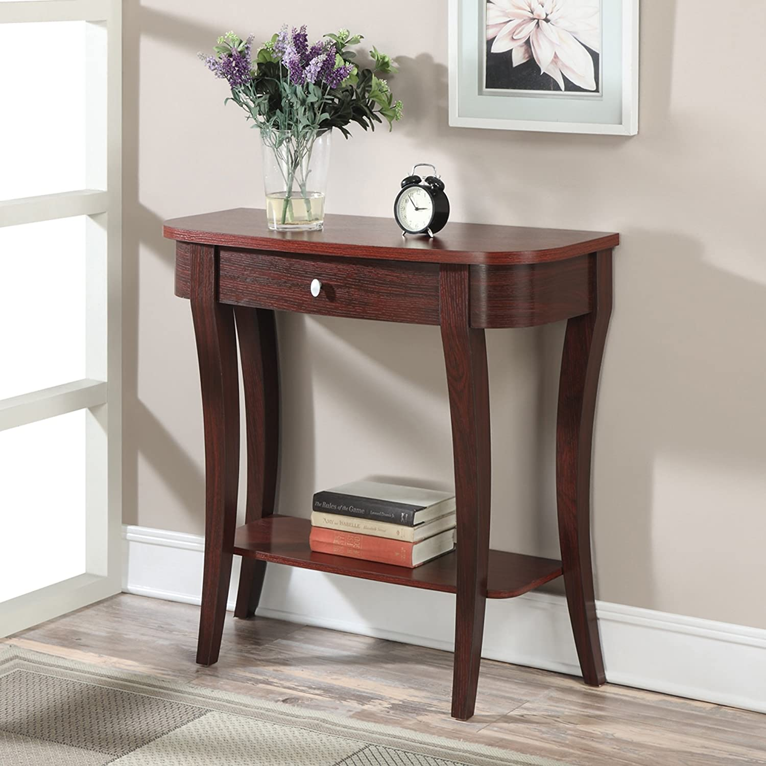 Amazon convenience concepts modern newport console table amazon convenience concepts modern newport console table mahogany kitchen dining geotapseo Gallery