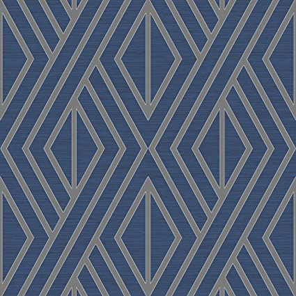 Geometric Wallpaper Blue And Silver Pear Tree Uk30522
