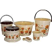 Aarohi13 Plastic Bath Set,6 Pieces, Brown