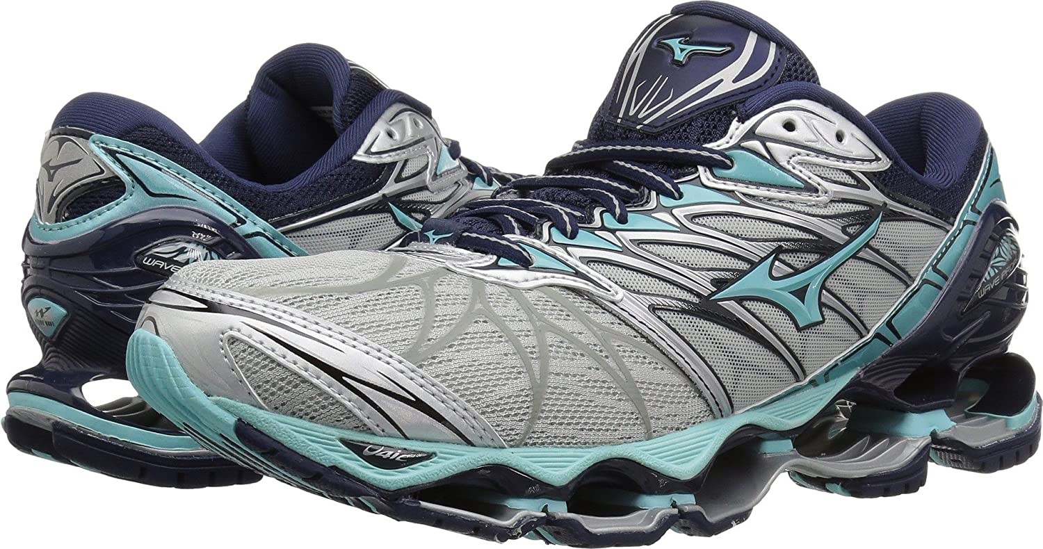 Mizuno Women's Wave Prophecy 7 Running Shoe B076XNWFG4 9 M US|Silver/Aqua Splash