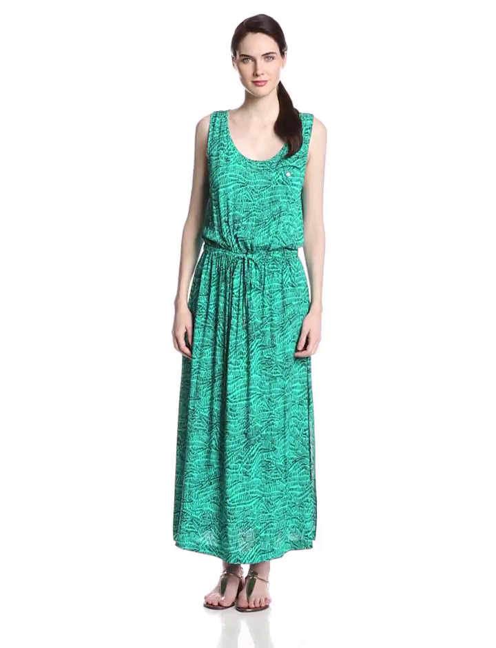 Two by Vince Camuto Women's D S Squiggle Graphic Maxi Dress, Sea Green, Medium