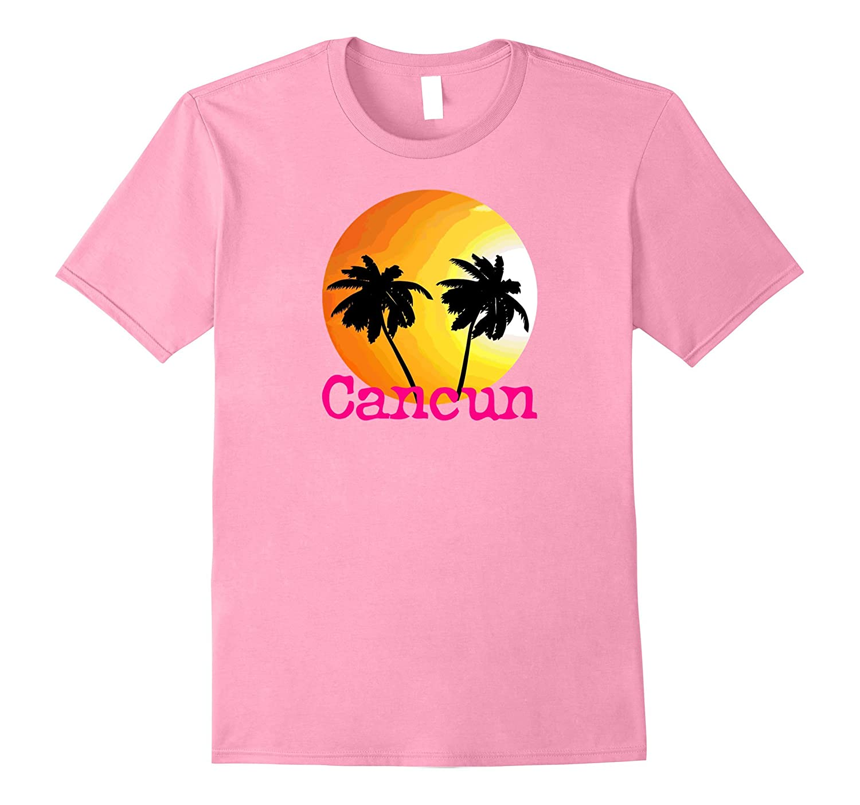 Cancun Sunset Palm Tree T-Shirt Beach Travel Tee Shirt-TH