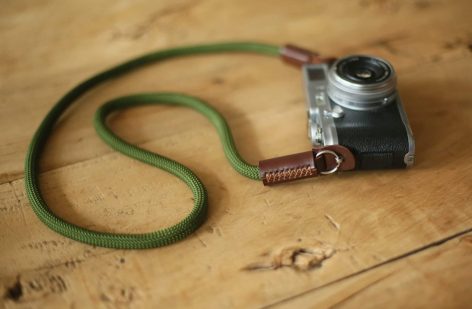 Army green climbing rope camera neck shoulder strap, from windmup, tan leather,Cylindrical style,100% handmade,very strong, 10mm (Customizable)