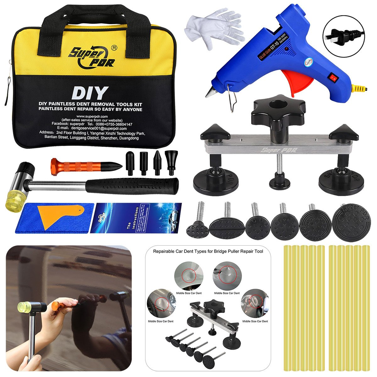 Super PDR 28Pcs Bridge Puller Kits Car auto Body Dent Removal Repair Tool Kit Tool Bag