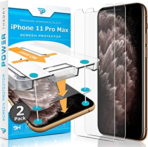 Power Theory iPhone 11 Pro Max Screen Protector [2-Pack] with Easy Install Kit [Premium Tempered Glass for iPhone 11 ProMax]