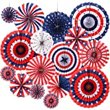 4th of July Decorations Paper Fan for Patriotic Decorations, Independence Day Party Supplies 6 Pack