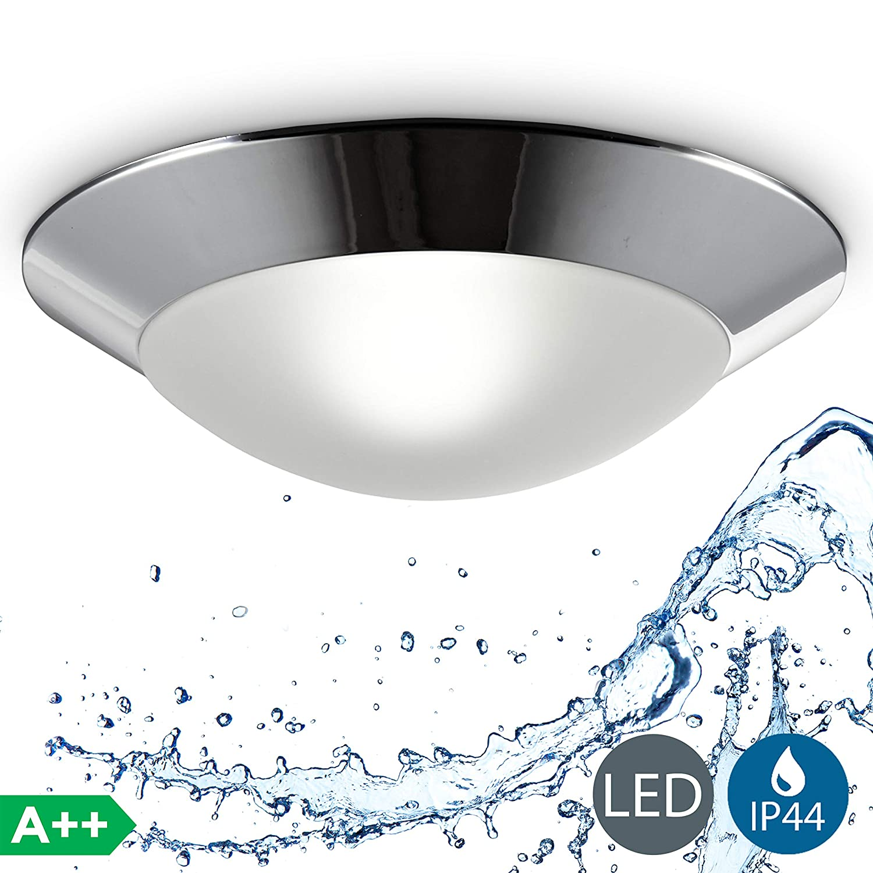 Led bathroom ceiling light i splash proof lamp i flush mount light fitting i matt chrome design i warm white i metal plastic and glass i maxx 40 watt