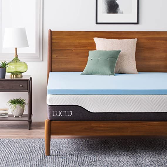 Lucid 2 Inch Gel Infused Memory Foam Mattress Topper   Queen by Lucid