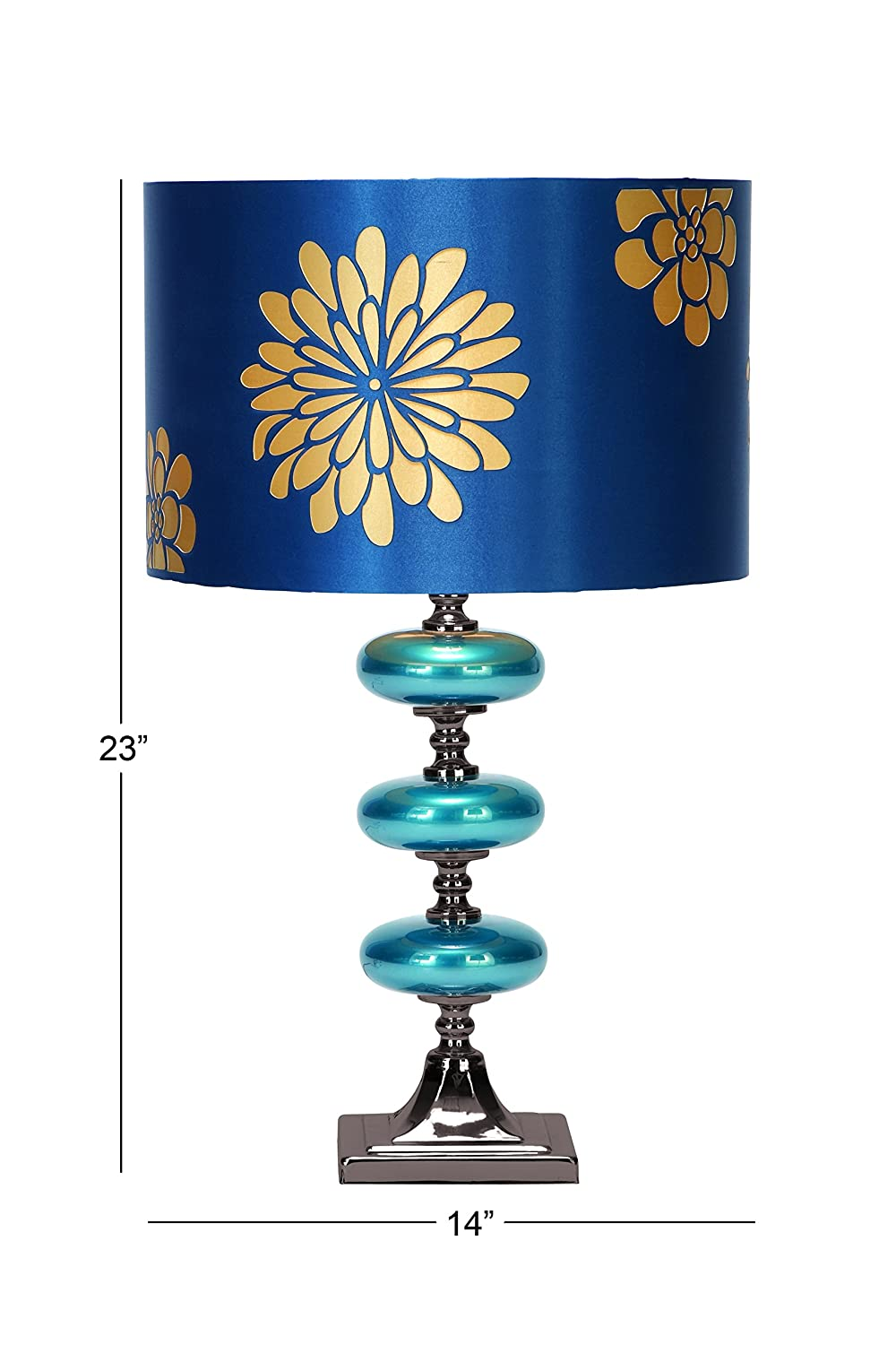 Deco 79 Metal Glass Table Lamp 23 Inch Blue Household Lamp Sets