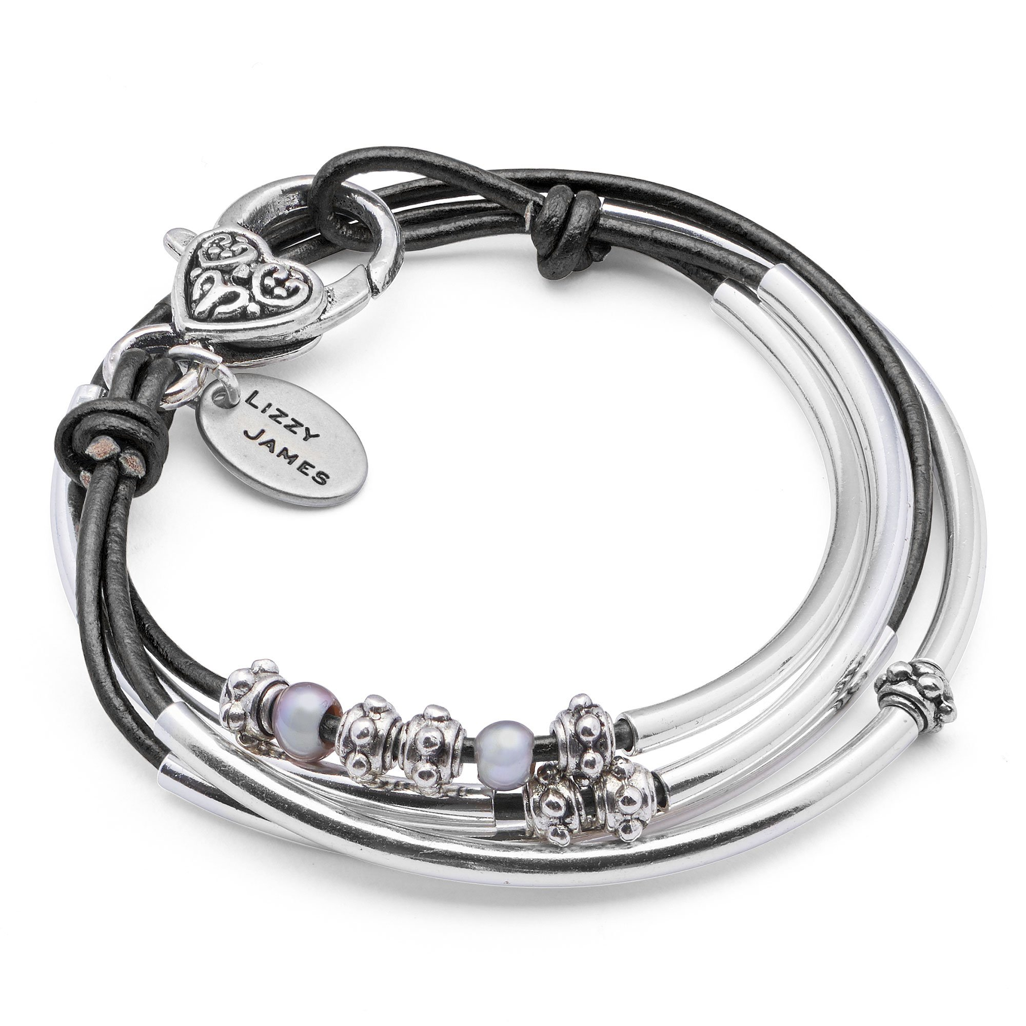 Lizzy James Mini Charmer Natural Black Leather and Silver Plate Wrap Bracelet with Freshwater Pearls (MEDIUM)