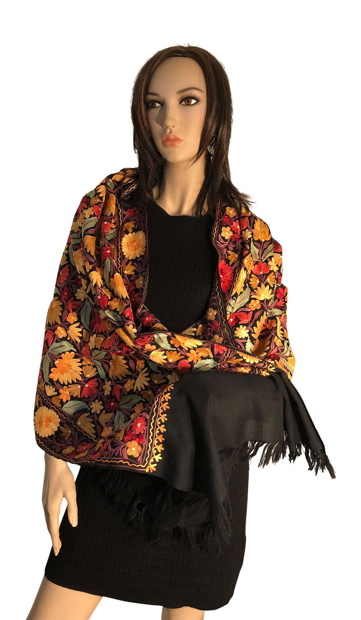 Pashmina Shawls with Multi color Embroidery Kashmiri style