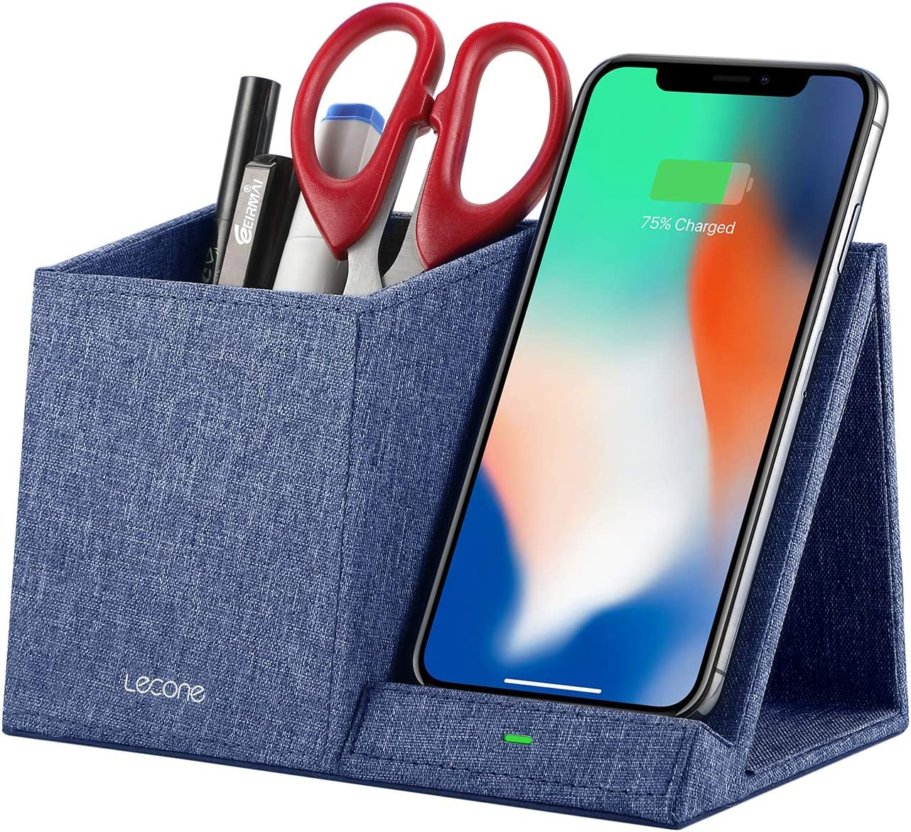 Lecone 10W Fast Wireless Charger with Desk Organizer Qi Certified Fabric Induction Charger Stand Pen Pencil Holder Compatible iPhone SE 2020/11/Xs MAX/XR/XS/X/8/8, Samsung S20/S10/S9/S8/Note 10, Blue